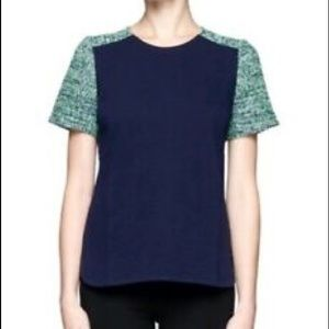 J. Crew Factory T-shirt with tweed sleeves.